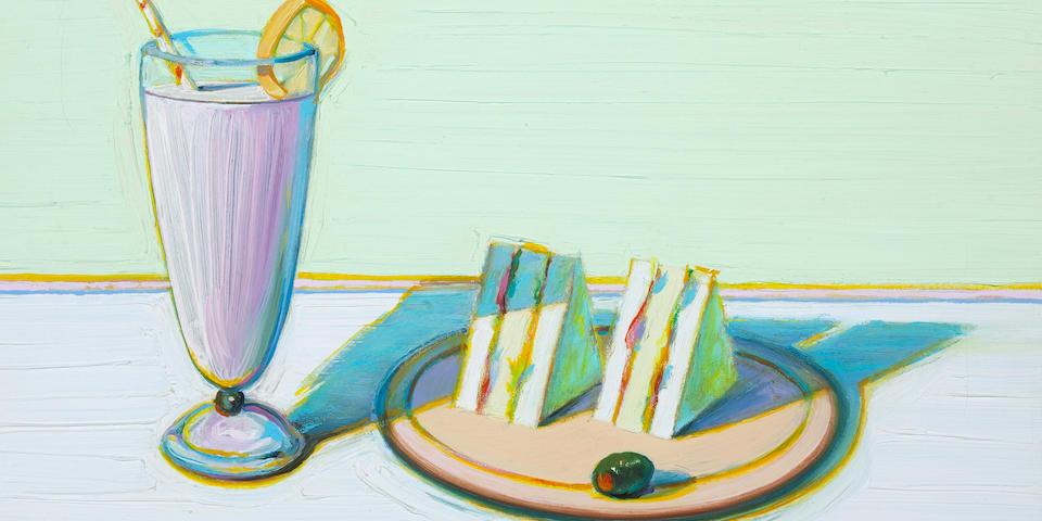 Wayne Thiebaud (American, born 1920) Milkshake & Sandwiches, 2000 15 3/4 x 20in