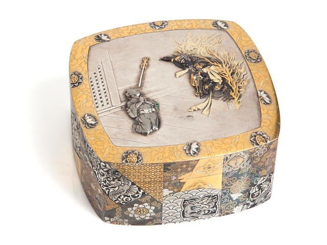 An important mixed metal box and cover By Unno Moritoshi (1834-1896)