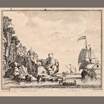 A pair of black and white engravings of maritime coastal scenes