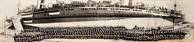 A panoramic photograph of the officers and crew of the U.S.S. Mount Vernon 11-3/4 x 44-1/2 in. (29.8 x 113 cm.) framed.  not examined out of the frame