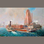 Unknown artist - Signed RPC, 1925 - of a barge with tug