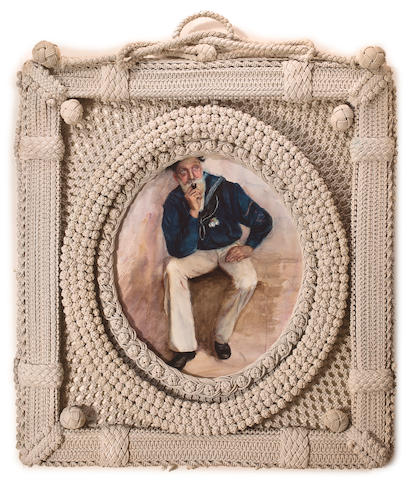 A portrait of a sailor in a ropework frame