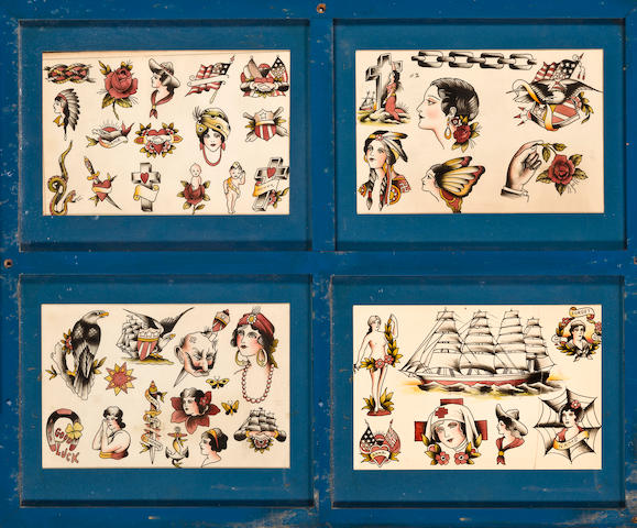 Four sheets of tattoo patterns  late 19th or early 20th century 13-1/2 x 9-1/4 in. (34.3 x 23.5 cm.) sight of each sheet; 29-3/4 x 36-1/4 in. (75.6 x 92.1 cm.) overall framed. not inspected out of the frame