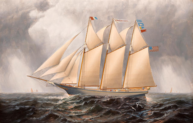 Elisha Taylor Baker (American, 1827-1890) The three masted schooner Rosa Eppinger 22 x 34 in. (55.8 x 86.3 cm.)