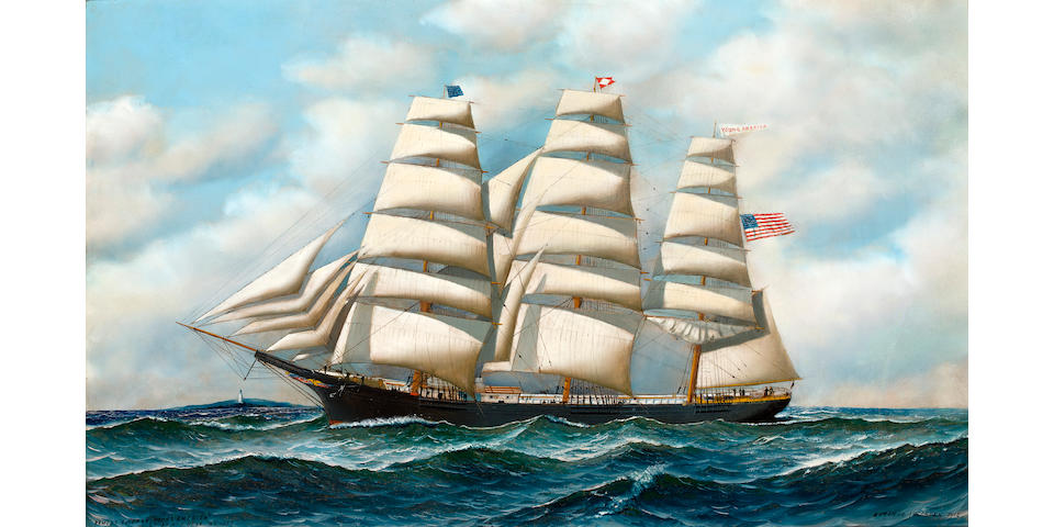 (n/a) Antonio Nicolo Gasparo  Jacobsen (American, 1850-1921) The ship Young America at sea 22 x 36 in. (55.9 x 91.4 cm.)
