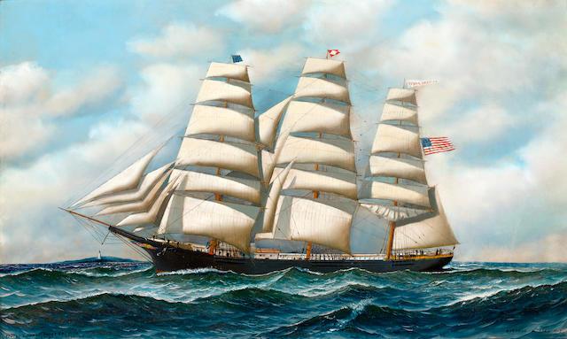 (n/a) Antonio Nicolo Gasparo  Jacobsen (American, 1850-1921) The ship Young America at sea 22 x 36 in. (55.9 x 91.4 cm.)