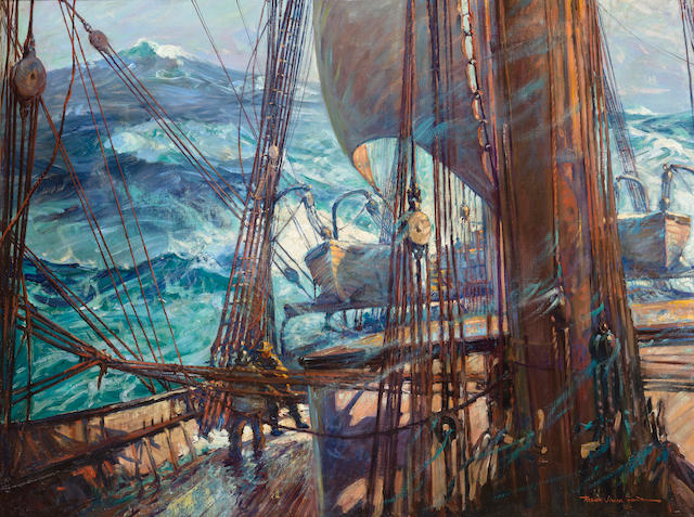 (n/a) Frank Vining Smith (American, 1879-1967) Turbulence at sea 30 x 40 in. (76.2 x 101.6 cm.)