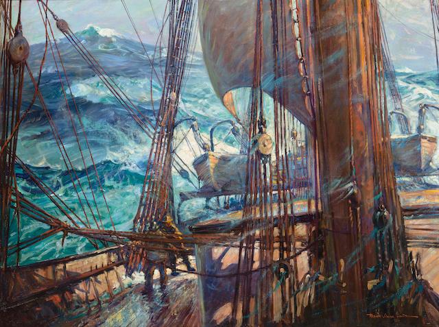 (n/a) Frank Vining Smith (American, 1879-1967) Turbulence at sea 30 x 40 in. (76.2 x 101.6 cm.)