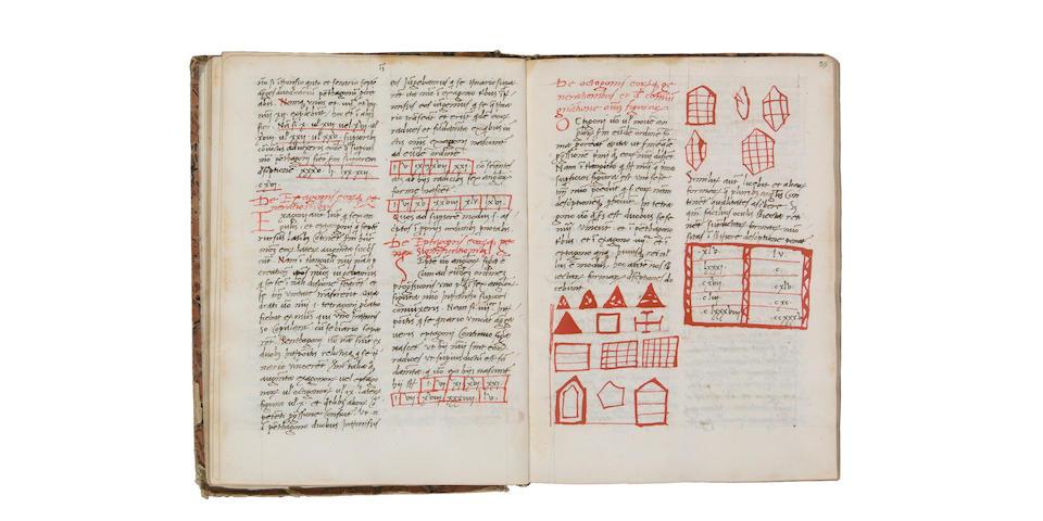 Fibonacci manuscript: Boethius Arithmetica; Grosseteste Computus; Johannes de Pulchro Rivo Computus Manualis; Fibonacci Liber Flos i.e. Liber Abbaci chapters 14 and 15