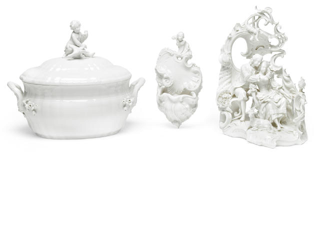 A group of German blanc de chine porcelain table decorations