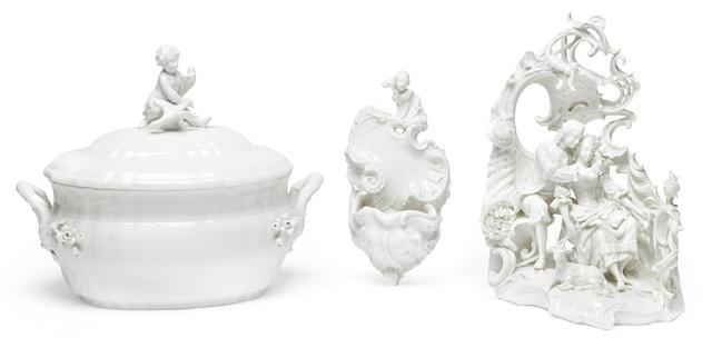 A group of German blanc de chine porcelain table decorations