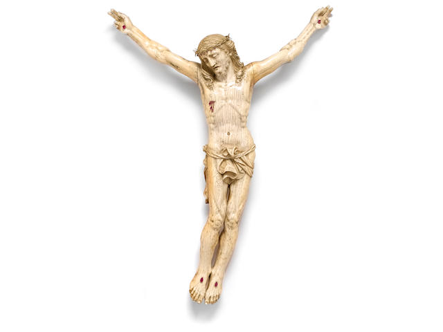 An impressive Continental carved ivory figure of Corpus Christi <br>18th/19th century