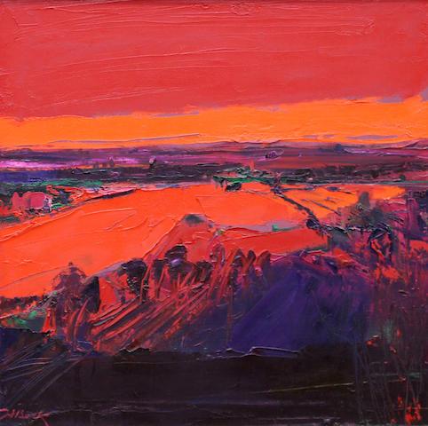 Henrietta Berk (American, 1919-1993) Red landscape 24 x 24in