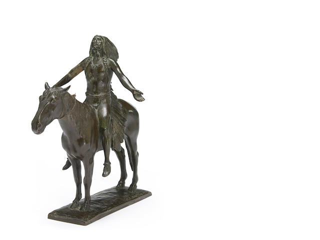 C.E. Dullin Indian on horseback bronze