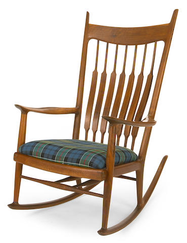 A Sam Maloof Walnut rocking chair, 1971