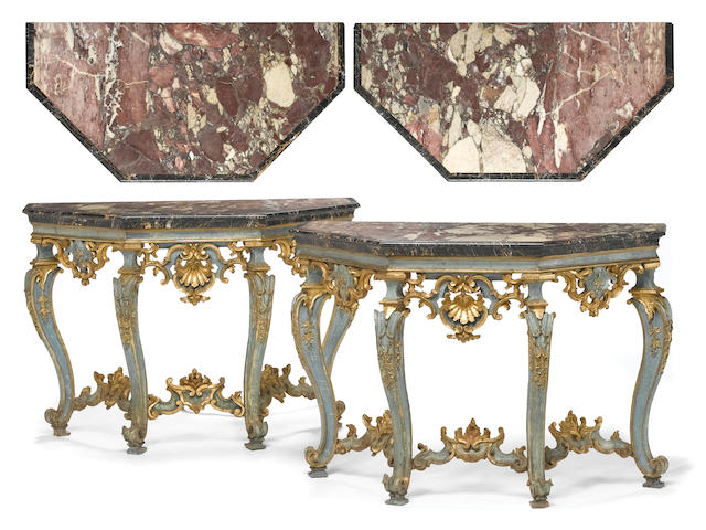 A pair of Venetian Rococo parcel gilt and blue painted consoles <br>third quarter 18th century