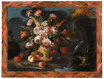 (n/a) Continental School, 19th/20th century A group of eight still lifes of a vase of flowers and fruit in a garden landscape  (8) each 28 1/2 x 39in (72.4 x 99cm)
