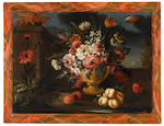 Continental School, 19th/20th century A group of eight still lifes of a vase of flowers and fruit in a garden landscape  (8) each 28 1/2 x 39in (72.4 x 99cm)
