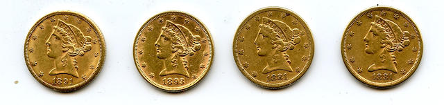 Liberty Head $5 Half Eagles (4)
