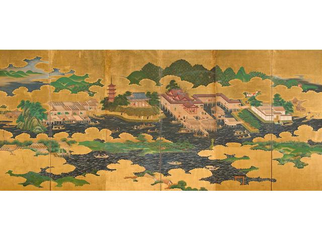 Kano Masunobu (1625-1694) Itsukushima Shrine and Hasedera