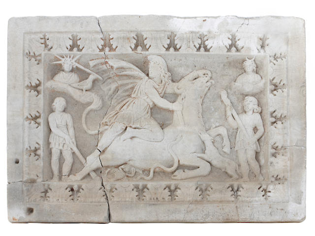 A Roman carved stone panel of Mithras Tauroctonous <br>2nd/3rd century A.D.