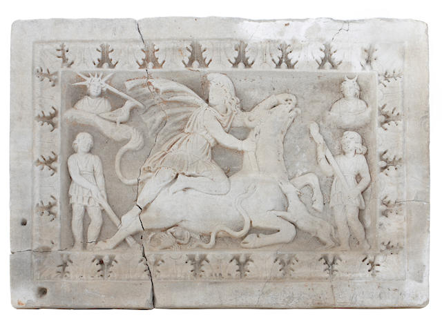 A Roman carved stone panel of Mithras Tauroctonus  2nd/3rd century A.D.