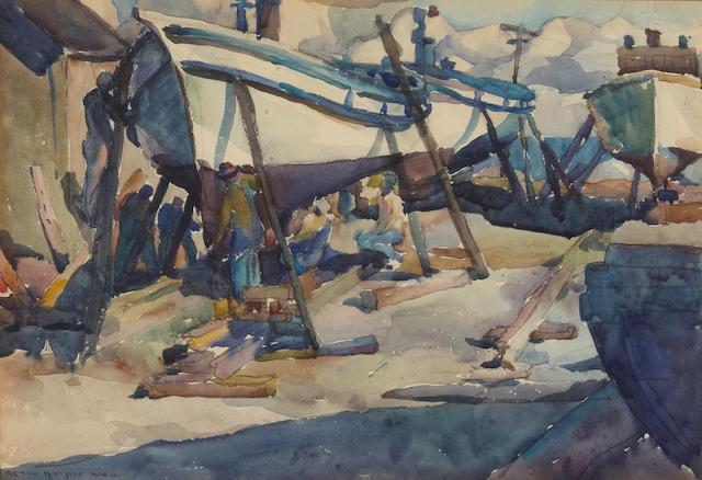 Armin Hansen (American, 1886-1957) Boatyard, Monterey  10 x 14 3/4in