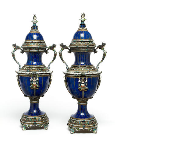 A pair of Viennese style lapis and enameled covered vases<br>19th century