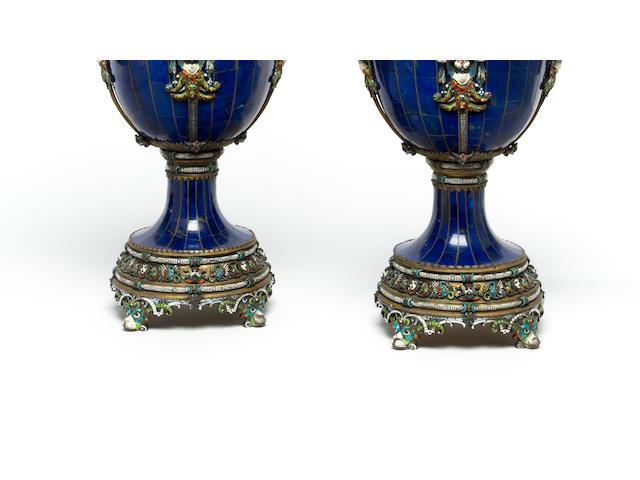 A fine pair of Viennese lapis clad and enameled silver two-handled covered vases 19th century
