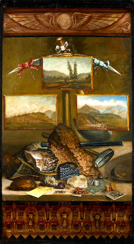 Attributed to S.V. Brobst (American, fl. 1890-1900) An homage to early mining (Mineral Specimens and Paintings of early Western Mining Towns) 41 x 23in