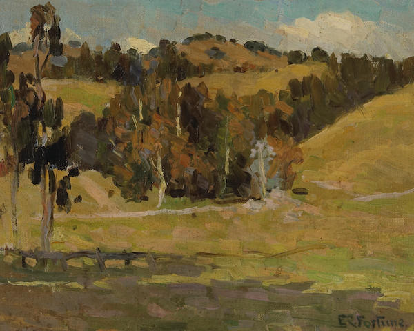 (n/a) E. Charlton Fortune (1885-1969) Trees amongst rolling hills, California 8 x 10in
