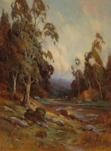 Alexis Matthew Podchernikoff (Russian/American, 1886-1933) Stream through a lush autumnal valley 40 1/4 x 31in