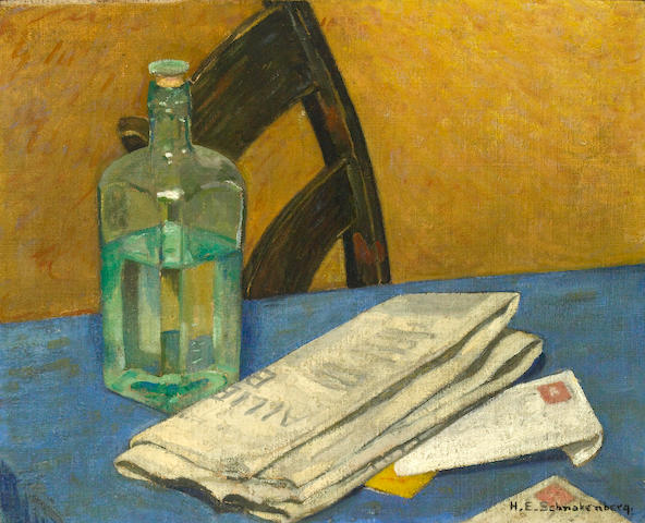 Henry Ernest Schnakenberg (American, 1892-1970) Still life with bottle and newspaper on a table 16 x 20in
