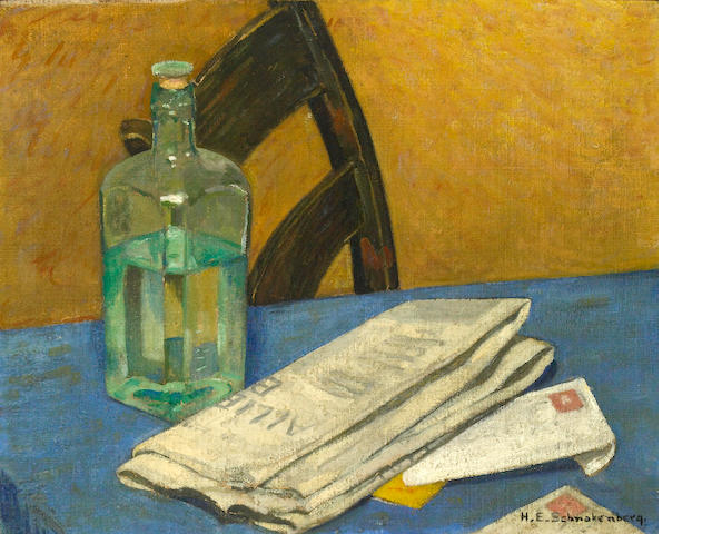 Henry Ernest Schnakenberg (American, 1892-1970), Still life with bottle and newspaper on a table 16 x 20in