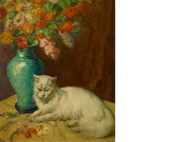 Mischa Askenazy (Russian/American, 1888-1961) White cat by a vase of flowers 28 x 22 1/2in
