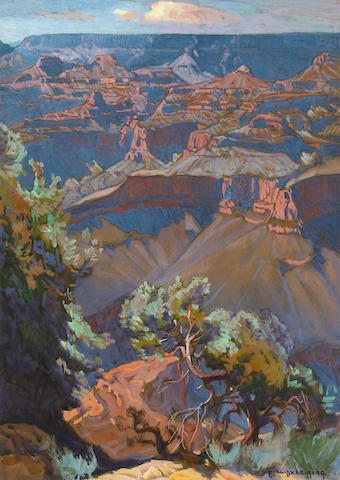 Carl Oscar Borg, 'Grand Canyon', gouache, 14in x 10in, framed, signed lower right, label on verso.  Provenance: Property from a Private Az collection