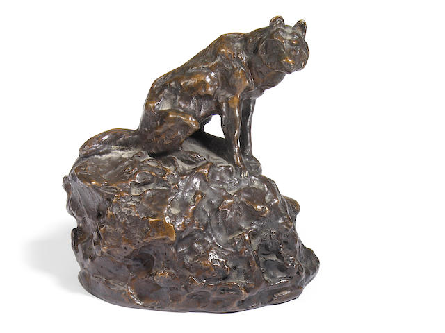 Charles Marion Russell (American, 1864-1926) Lone wolf 6 x 5 1/2 x 4in