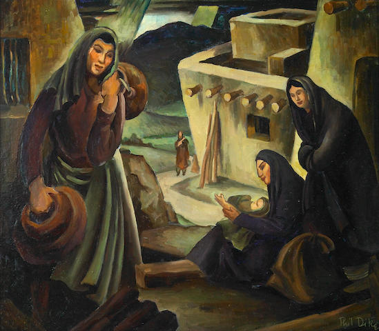 Phil Latimer Dike (American, 1906-1990) Women of the Pueblo 18 x 20 1/2in