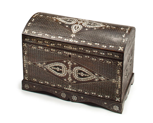 A Syrian mother-of-pearl-inlaid domed coffer