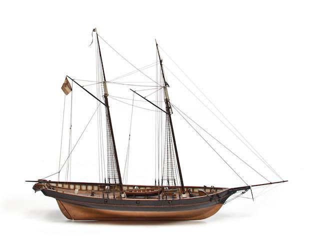 A model of the topsail schooner Sarandi Goleta 44 x 13-1/2 x 32-1/2 in. (111.8 x 34.3 x 82.6 cm.) the model.