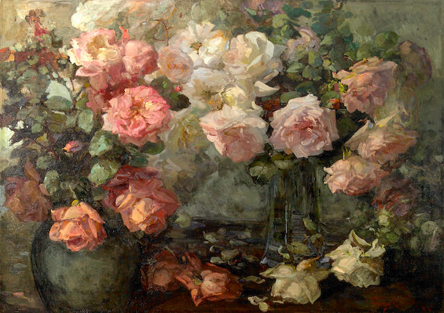 Franz A. Bischoff (1864-1929) Pink and white roses in vases on a table  22 x 34in