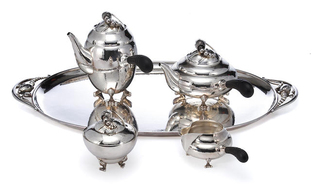 A Danish sterling and wood tea and coffee set