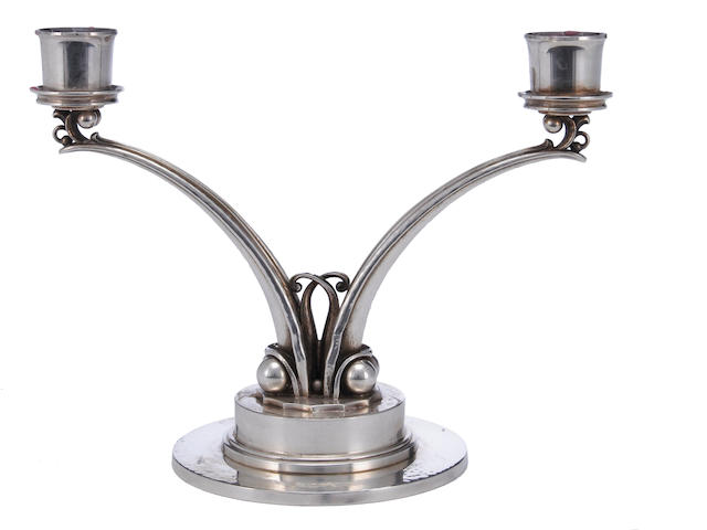 A Danish sterling two light candelabrum