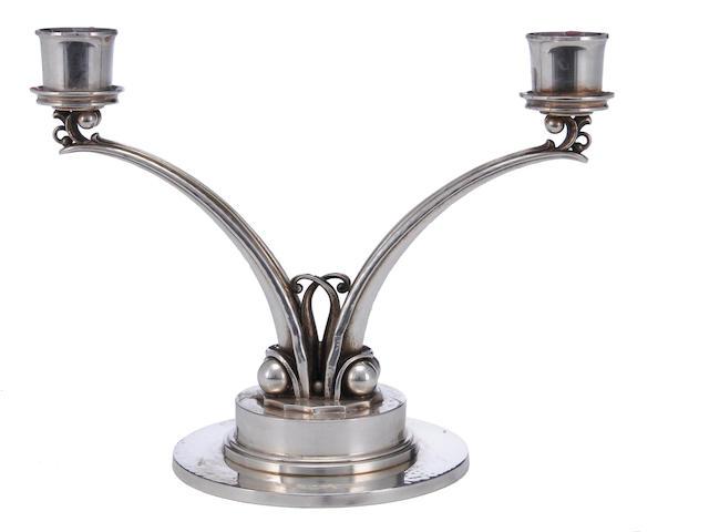 A Danish sterling two light candelabrum