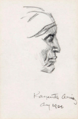 Maynard Dixon Profile of a Navajo woman pencil on paper