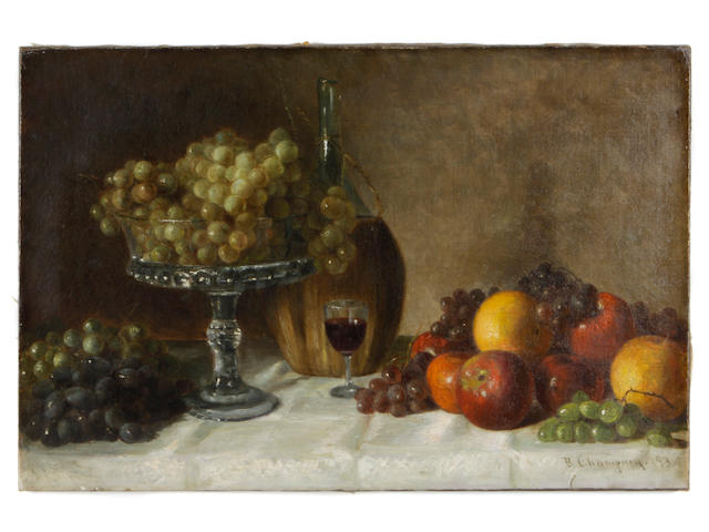 (n/a) Benjamin Champney (American, 1817-1907) Still life with wine and fruit 16 x 24in unframed