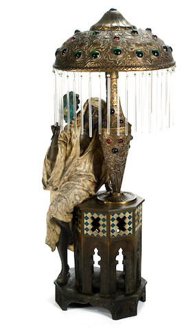 Oriental lady with her fan, a lamp height: 119.38cm (47in).