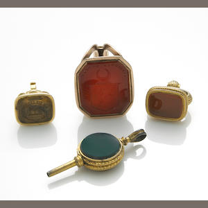 A collection of hardstone, 14k, 10k gold and gilded-silver pocket watch jewelry