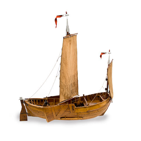 A model of the cog Jeanette of Blankenberche  early 20th century 33-1/2 x 13-1/4 x 35 in. (85.1 x 33.7 x 88.9 cm.) the model.