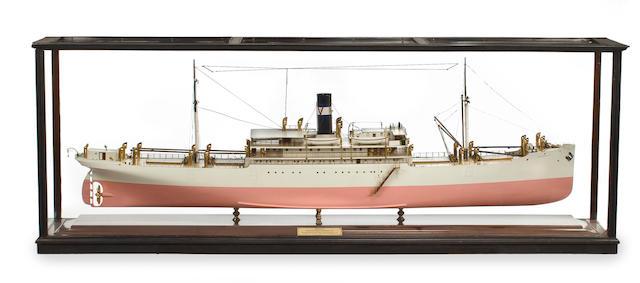 A builders' model of the S.S. Amapala 104 x 20-1/2 x 37 in. (264.1 x 52 x 93.9 cm.) cased.